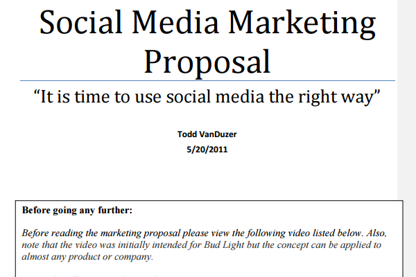 Social Media Proposal – Marketing Proposal Samples